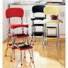 Counter-Height Step Stool from Country Door - Reminds me of our next door neighbor growing up, I loved her so much! Kitchen Stools, Bar Stools, Counter Stools, The Neighbor, Stool Chair, The Good Old Days, Vintage Kitchen, Childhood Memories, Decoration