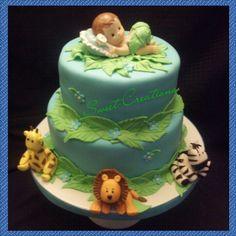 Jungle animals baby shower fondant cake. Lion, zebra, giraffe gumpaste. Sweet creations by Marley