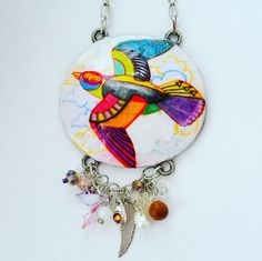 Hand-Painted Swallow Bird Pendant with Charm Dangles Necklace by DirtyPopAccessories on Etsy