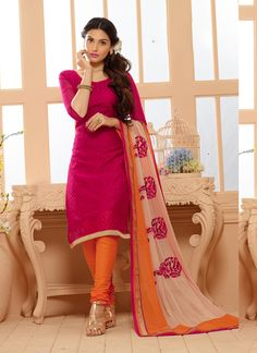 Pink Bulk Chanderi Salwar Kameez Specially For Festival