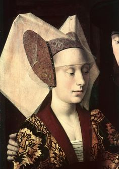 Eligius as a goldsmith showing a ring to the engaged couple (detail of the fiancee) 1449 - Petrus Christus reproductions The Old woman? Renaissance Kunst, Renaissance Portraits, Renaissance Paintings, Medieval World, Medieval Art, Jan Van Eyck, Classic Portraits, Web Gallery, 14th Century