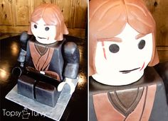 a tutorial on how to create a sitting lego character cake. basic carving and frosting tips This one is anakin skywalker from lego star wars!