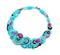 Statement Necklace Soutache Jewelry Turquoise and - 2014 Custom Statement Necklaces
