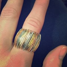 Gold and silver ring Jennifer Lopez gold and silver ding, fits all sizes. Stretchy. Jennifer Lopez Jewelry Rings
