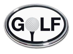 """Golf Ball """"""""O"""""""" Black and White Chrome Car Emblem"""