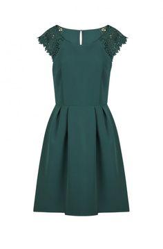 Robe cintrée à manches courtes détail dentelle  vert vegetal - robes femme - naf naf 1