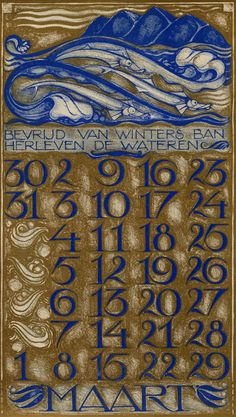 Dutch Art Nouveau calendar, March. via Wolfsonian, Miami
