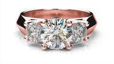 Zlatý zásnubný prsteň VERA ružové zlato 14 karátové diamant okrúhly tri diamanty