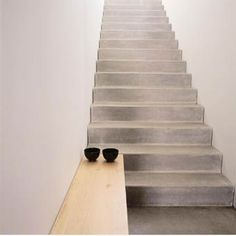 not quite under the stairs - but concrete steps with wooden bench Interior Stairs, Interior Architecture, Interior And Exterior, Interior Design, Stairs To Heaven, Concrete Stairs, Concrete Wood, Beton Design, Stair Handrail