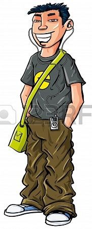 Cartoon teenage Asian boy with mp3 player and shoulder bag Stock Photo - 19008428