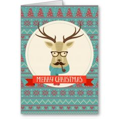#Christmas Hipster Deer Mustache Glasses Pipe Cards #ChristmasCards #HolidayCards #reindeer #friends USA