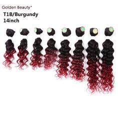 8-14inch 8pcs/pack deep wave weave synthetic hair extensions