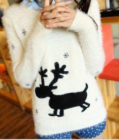 Бесплатная доставка 2015 новое поступление женщин мода пуловеры с длинными рукавами олень снег мохер пуловер девушка свитер мода топы для женщин купить на AliExpress