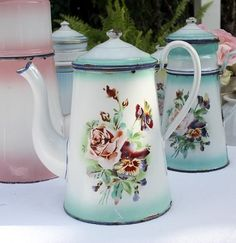 Antique French Rose & Pansies Floral Enamelware Coffeepot