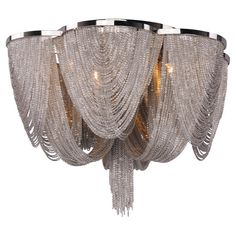 I DIE!!!  Dramatically draped with nickel-finished jewelry chains, this beautiful flush mount casts an ornate glow over your decor.