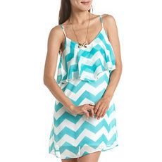 Chevron Stripe Ruffled Tank Dress: Charlotte Russe