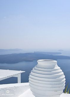 Gorgeous scenic view in Santorini Greece. Blue and white, my favorites.