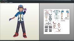 Ash / Satoshi pokemon trainer papercraft unfold by Antyyy.deviantart.com on @DeviantArt