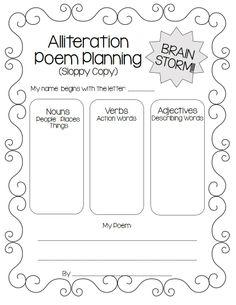alliteration poem planning page. Black Bedroom Furniture Sets. Home Design Ideas