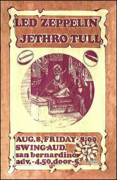 Rock Posters, Band Posters, Music Posters, Robert Plant Led Zeppelin, Jethro Tull, Live Rock, Concert Tickets, Long Live, Classic Rock