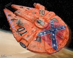 What not to do with your falcon. General Lee / Millennium Falcon Mashup - ( Dukes of Hazzard / Star Wars ) Starwars, Dukes Of Hazard, X Wing Miniatures, Rebel Scum, Millenium Falcon, Celebrity Stars, Cosplay Anime, Geek Out, Star Wars Art