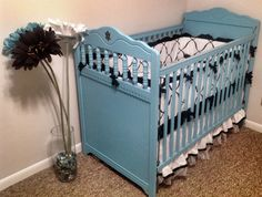 Painted crib #cribbedding #girlnursery