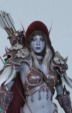 Fantasy Life Sylvanas Windrunner from World of Warcraft. 3d Fantasy, Fantasy Warrior, Fantasy Women, Fantasy Girl, Fantasy Artwork, Dark Fantasy, Warcraft Art, World Of Warcraft, Legolas