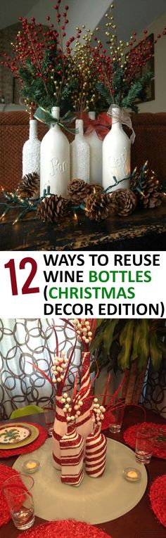 Christmas, Things to Do With Wine Bottles, How to Repurpose Wine Bottles, DIy Christmas Decor, Wine Bottle Christmas Decorations, Repurpose Wine Bottle Projects, Popular Pin(Bottle Painting Christmas)