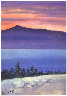 hanga gallery . . . torii gallery: Evening Glow at Mono Lake, from Mono Mills by Chiura Obata