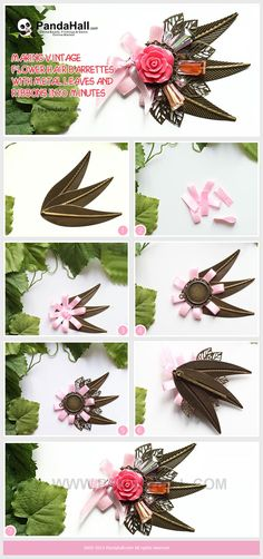 Making Vintage Flower Hair Barrettes with Metal Leaves and Ribbons in 10 Minutes