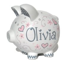 Baby Pink and Gray Elegant Hearts - Personalized Piggy Bank Ceramic - Custom Hand-painted - Large Size: x x - Fast Shipping Pottery Painting, Ceramic Painting, Pig Bank, Personalized Piggy Bank, Art Diy, Cute Piggies, Money Box, Christmas Delivery, Hand Painted Ceramics