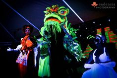 Me in center as puppet handler. Painted dragon uv and made costumes and mural in back, but was a large group-effort show directed by Rachel Deboer called, Enlightenment, for Source Art Festival, Maui, HI 2012