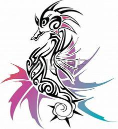 Sea Horse ,illustration image for tattoo Stock Photo - 24123613