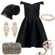 Outfit molto elegante adatto ad una cerimonia di sera, composto da vestito nero con collo a barca e gonna a ruota e stola nera in pura seta abbinati a un sandalo nude con effetto scamosciato e ad una clutch in tessuto nera e oro. Per i gioielli ho scelto, orecchini pendenti color pesca con cristalli e bracciale rigido oro. Polyvore, Outfits, Image, Black, Dresses, Style, Fashion, Gold, Chic