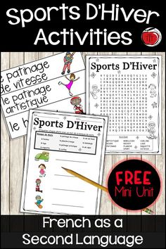 FREE French as a Second Language mini unit to help your students learn winter sports vocabulary. Low prep and engaging French winter activities. Vocabulary Activities, Language Activities, Teaching Activities, Sports Activities, Learning Games, Teaching Ideas, Bobsleigh, French Teaching Resources, Teaching French