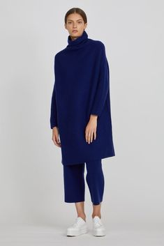 Zala Cashmere High Neck Dress in Berry Blue Cashmere Wool, Wool Dress, Berry, Trousers, Normcore, High Neck Dress, Autumn, Winter, How To Wear