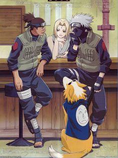Iruka, Tsunade, and Kakashi