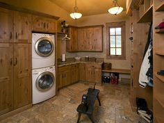 Image detail for -Laundry room & Mud Room all in the same space. Knotty Alder cabinets ...