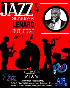 """Voted the """"Best Jazz Artist of the Year"""" by the Miami New Times, Rutledge's robust vocals have made him one of the most sought-after talents in contemporary jazz.  His music has been described as """"captivating, soul-stirring, earthy, and funky"""" Casino Miami is at 3500 NW 37th Ave, phone 305-633-6400. No cover, no minimum. Visit http://www.casinomiamijaialai.com/club-rio/ for more detail."""