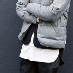 """layerkorea: """" LIFUL MINIMAL GARMENTS. Citizen down jacket & Mixed long shirt #liful """""""