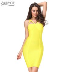 c2457820e6 2016 Winter Women Runway Bandage Dress Bodycon Dress Yellow Spaghetti Strap  Hollow Out Backless Celebrity Cocktail Party Dresses