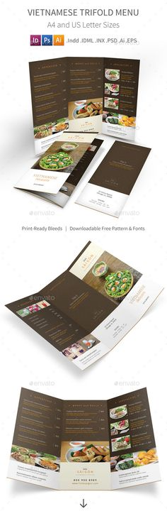 Vietnamese Restaurant Trifold Menu Template PSD, INDD, Vector EPS, AI. Download here: http://graphicriver.net/item/vietnamese-restaurant-trifold-menu-2/15473561?ref=ksioks
