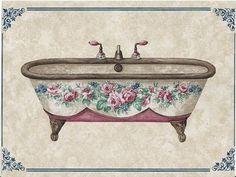 Postcards and old images Bathroom Prints, Bathroom Art, Bathrooms, Decoupage Vintage, Decoupage Paper, Images Vintage, Vintage Pictures, Vintage Labels, Vintage Ephemera