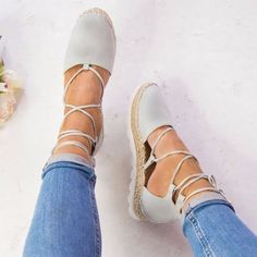 Buy Summer Women Fashion Flats Ankle Strap Sandals Bandage Shoes at Wish - Shopping Made Fun Ankle Shoes, Ankle Strap Flats, Cute Shoes Flats, Ella Shoes, Women's Shoes, Flat Lace Up Shoes, Closed Toe Sandals, Flat Sandals, Bandage