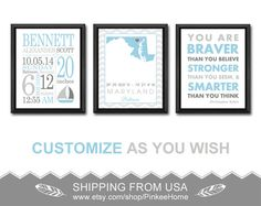 Nautical Baby Boy Birth Stats You Are Braver Wall Decor With Subway Personalized