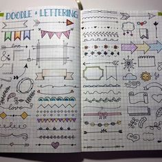 The Best Bullet Journal Notebooks for You to Start With – Bullet Journal 101 Bullet Journal Inspo, Bullet Journal Banners, Bullet Journal Headers, Bullet Journal Notebook, Bullet Journal Spread, Bullet Journal Ideas Pages, Doodle Lettering, Sketch Notes, Doodle Drawings