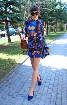abstract print dress with frills