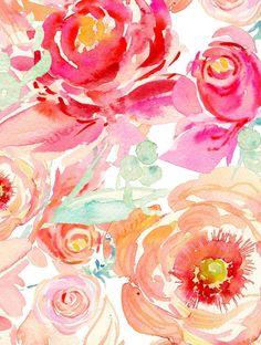 Image of Peach Peony, Fuchsia Rose 8x10 Signed Print