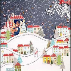 Snowy Christmas village created with Pinkfresh Studio Home for Holidays collection Scrapbook Sketches, Scrapbook Page Layouts, Scrapbook Paper Crafts, Scrapbook Cards, Christmas Arts And Crafts, Unique Christmas Trees, Christmas Scrapbook Layouts, Scrapbooking Ideas, Celebration Love