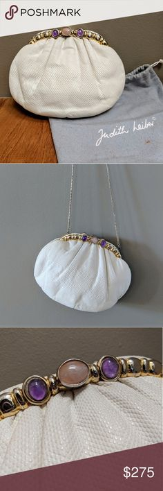 VINTAGE Judith Leiber White Lizard Gem-Set Clutch! Vintage, classic 1980s Judith Leiber white lizard leather clutch/evening bag, the gold-tone frame set with four purple amethyst cabochons, the clasp with a rose quartz cabochon. Ribbed ochre fabric interior with 2 side pockets. Can be used as a shoulder bag with the gold-tone chain strap or can be hinged to invisibly tuck away!  Stain to one pocket, name plate and hardware with light scratches, otherwise in good condition showing normal wear…